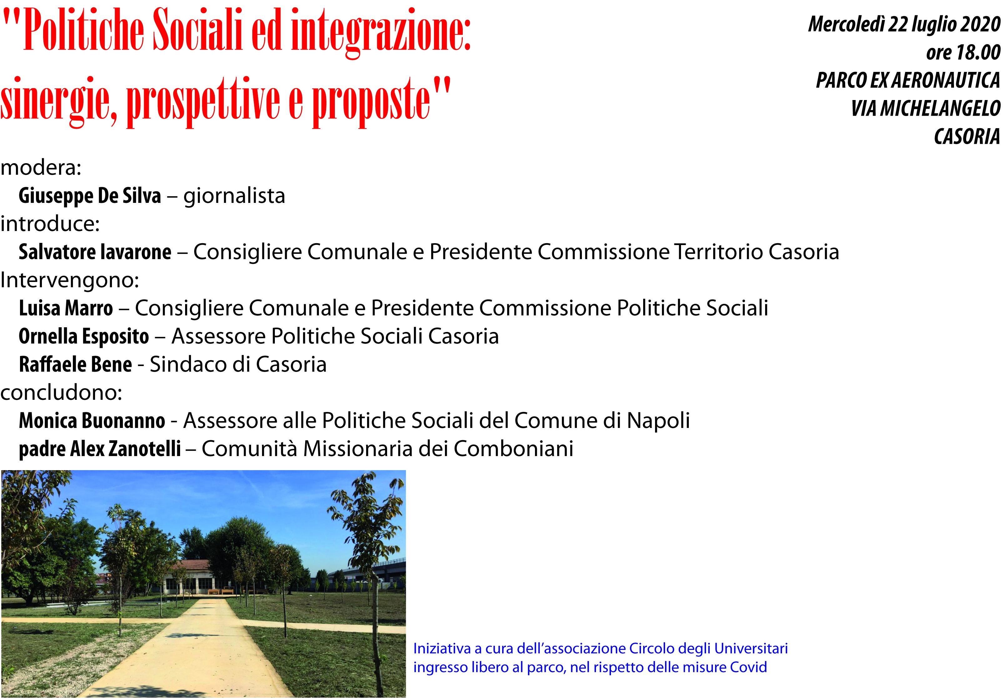 """""""Politiche Sociali ed integrazione:  sinergie, prospettive e proposte"""""""